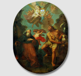 Decoro centrale della cappella (tela raffiguante S. Antonio e Giovanni opera di Pietro Paolo Operti 1776)